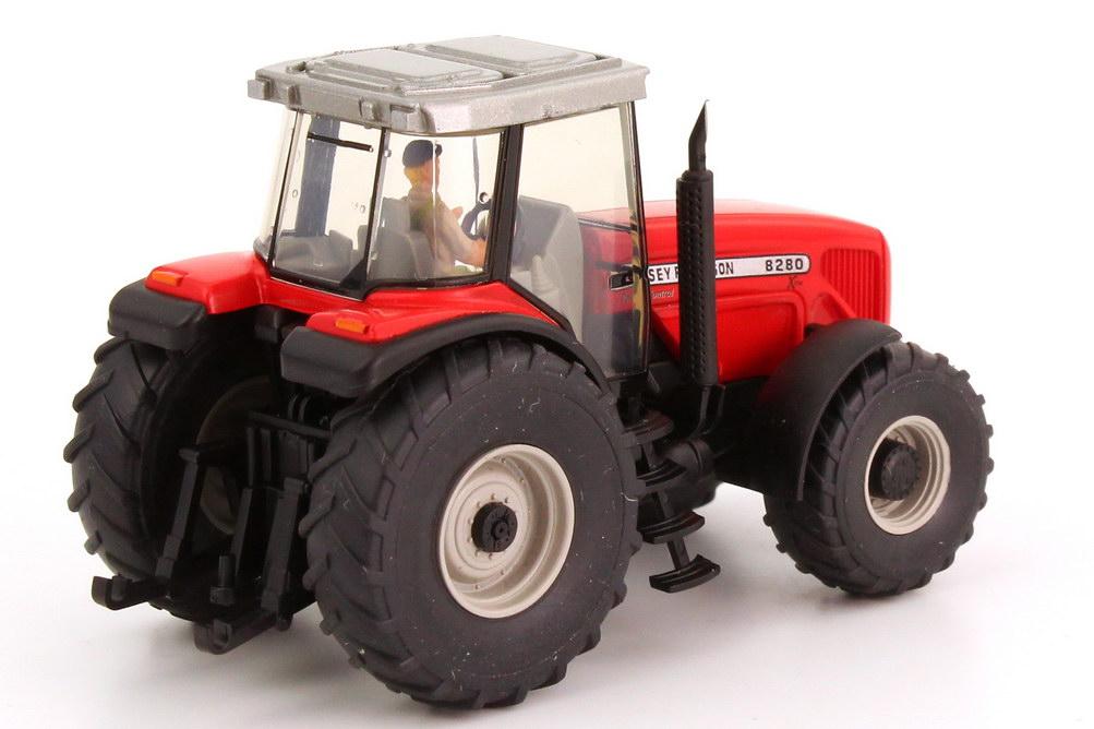 Foto 1:87 Massey Ferguson Traktor MF 8280 mit Fahrerfigur rot Wiking 38503