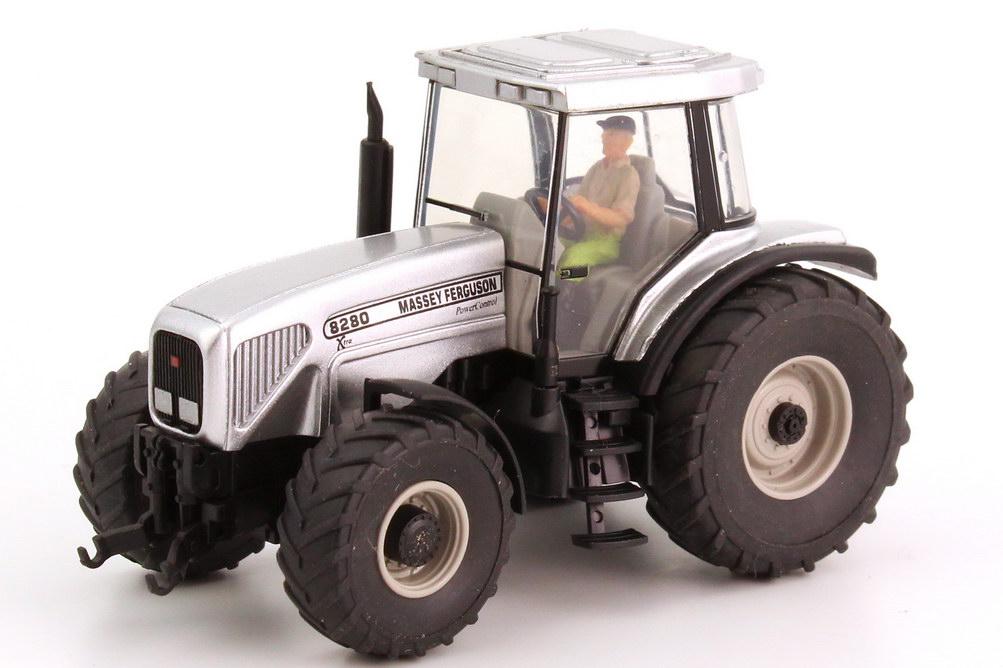 Foto 1:87 Massey Ferguson Traktor MF 8280 mit Fahrerfigur silber-met. Wiking 38502