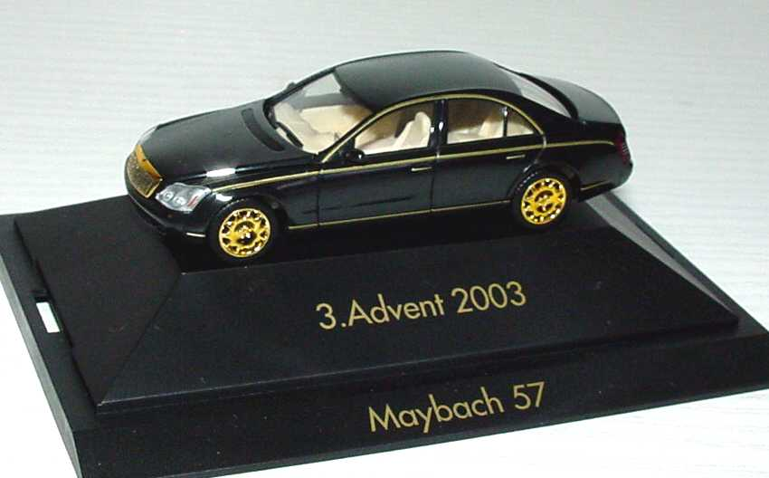 Foto 1:87 Maybach 57 schwarz/gold 3. Advent 2003 herpa 149495