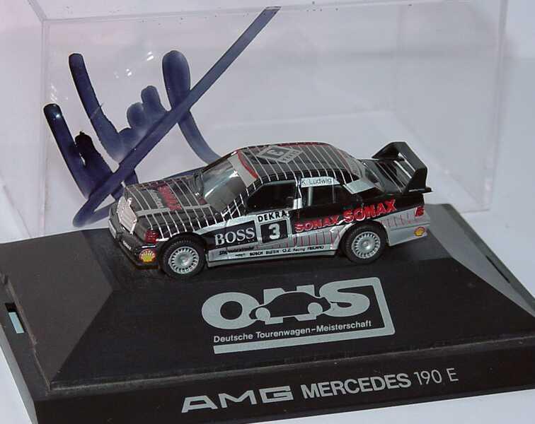 Foto 1:87 Mercedes-Benz 190E 2.5-16 Evolution II DTM 1992 AMG, Sonax Nr.3, Ludwig mit Fahrerautogramm herpa 035576
