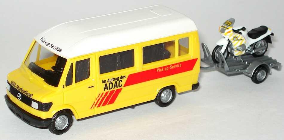 Foto 1:87 Mercedes-Benz 207D Bus Hochdach Motorrad auf Anhänger ADAC, Pick up Service herpa 043038