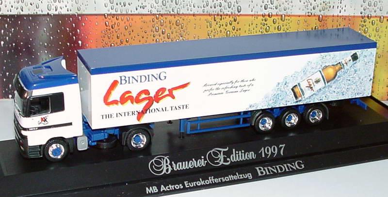 Foto 1:87 Mercedes-Benz Actros LH Fv KoSzg 2/3 Binding Lager - The international taste, KK Getränke Hanau (Brauerei-Edition 1997) herpa 186032