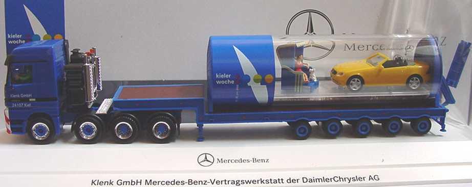 Foto 1:87 Mercedes-Benz Actros LH TiefladeSzg 4/5 mit Ladung Klenk, Kieler Woche 2000 herpa