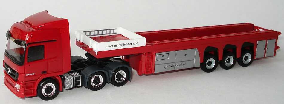 Foto 1:87 Mercedes-Benz Actros L MP3 Betonteiletransporter-Szg 3/3 rot Werbemodell herpa B66007809