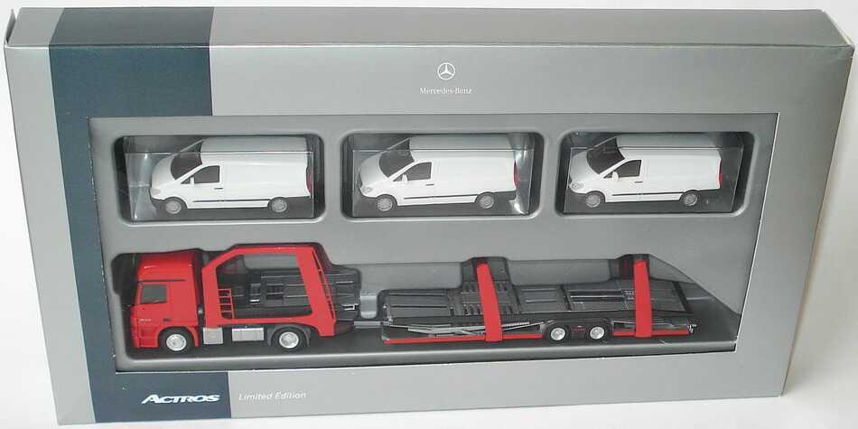Foto 1:87 Mercedes-Benz Actros L MP3 Eurolohr-Autotransporter Hgz 2/2 rot, beladen mit 3 Mercedes Vito Kasten weiß Werbemodell herpa B66007808