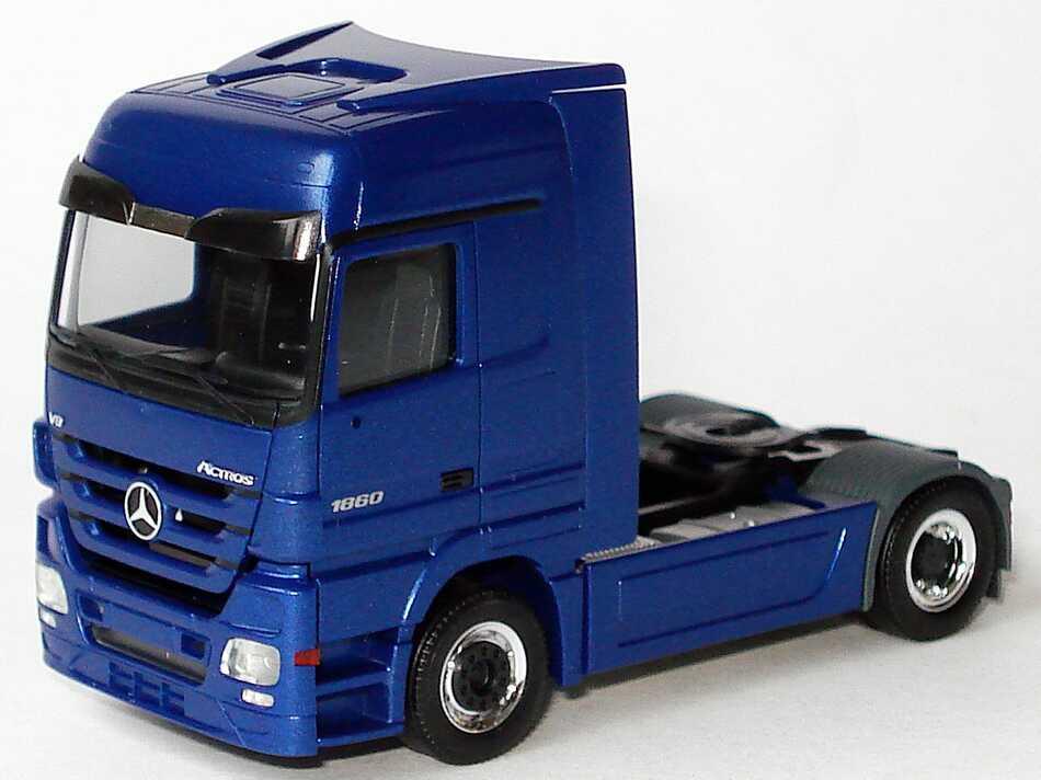Foto 1:87 Mercedes-Benz Actros Megaspace MP3 2a Szgm blau-met. Werbemodell herpa B66007804