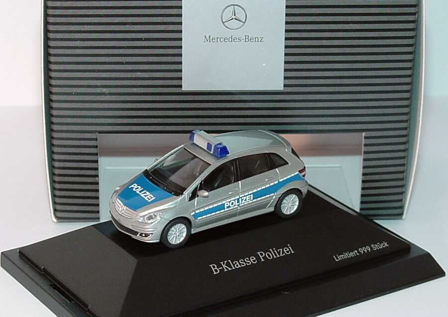 Foto 1:87 Mercedes-Benz B-Klasse (W245) Polizei silbermet./blau Werbemodell herpa B66961385