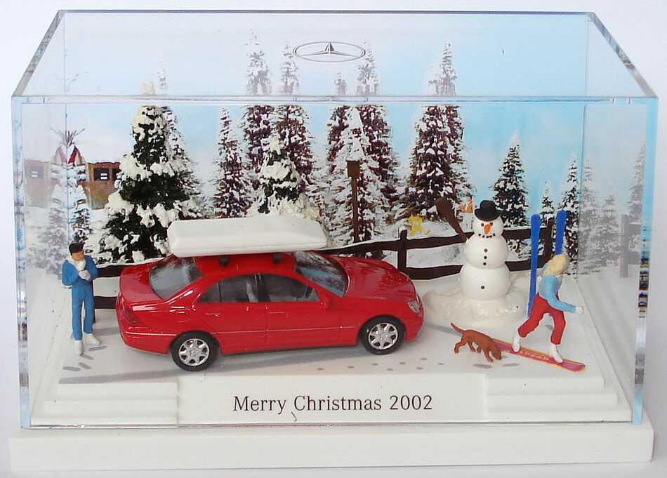Foto 1:87 Mercedes-Benz C-Klasse W203 magmarot Minidiorama Merry Christmas 2002 - Werbemodell - Busch B66963901
