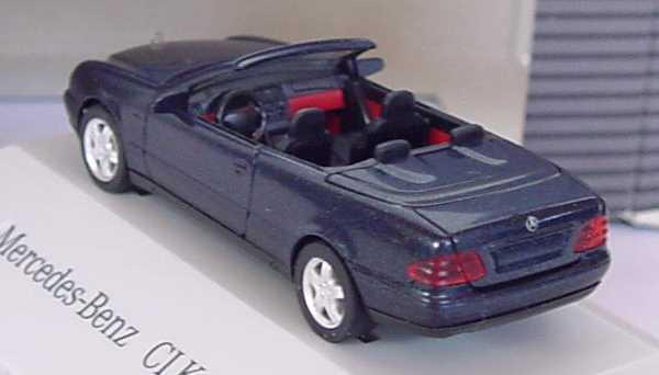 Foto 1:87 Mercedes-Benz CLK Cabrio (A208) mit Softtop blauschwarz-met. Werbemodell herpa B66005648