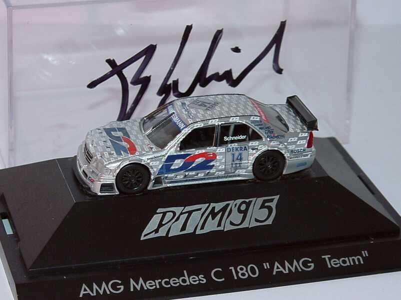 Foto 1:87 Mercedes-Benz C 180 DTM 1995 AMG, D2 Privat Nr.14, Schneider mit Fahrerautogramm herpa 036504