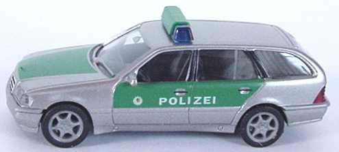 Foto 1:87 Mercedes-Benz C 180 Touring Facelift (S202) Polizei silbermet./grün herpa 044691