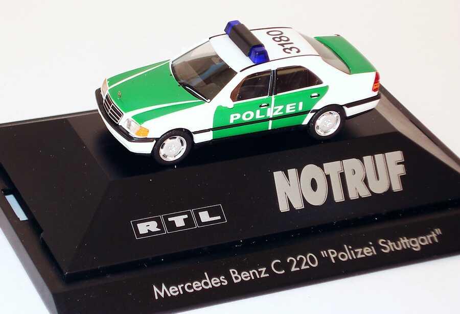 Foto 1:87 Mercedes-Benz C 220 (W202) Polizei Stuttgart, 3180, RTL Notruf (Göde-Edition) herpa 335-008-5