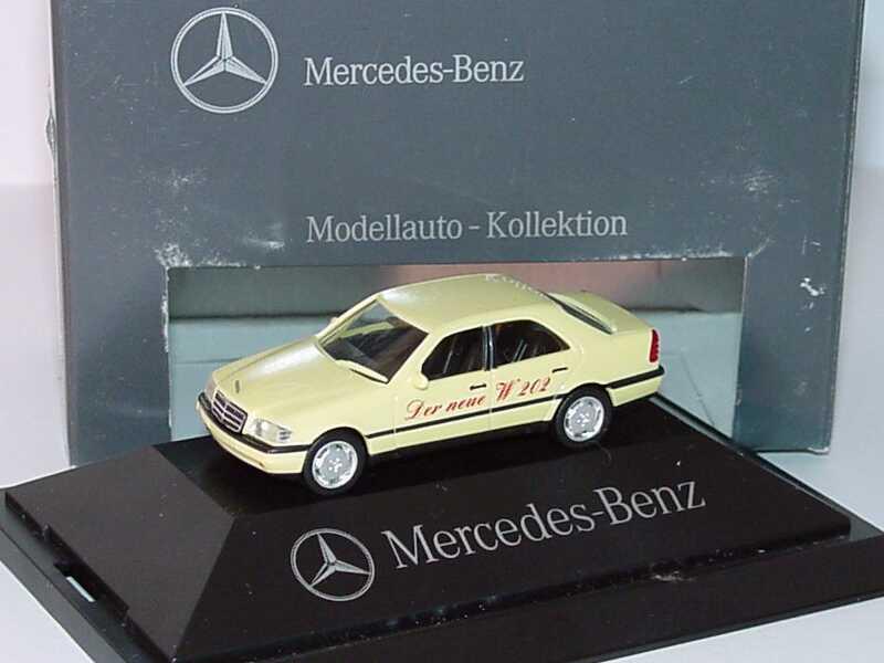 Foto 1:87 Mercedes-Benz C-Klasse W202 lichtgelb - 25 Jahre Autohaus Falter GmbH - Werbemodell - herpa