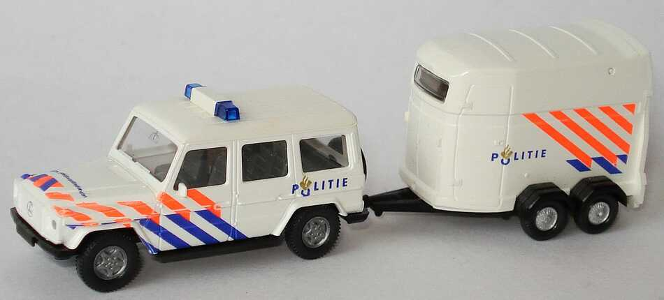 Foto 1:87 Mercedes-Benz G 320 lang mit Westfalia Pferdetransportanhänger Politie Wiking 06602