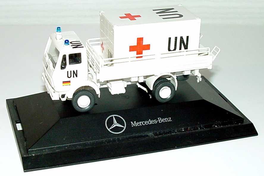 Foto 1:87 Mercedes-Benz (K) 2a Pritschen-Lkw (beladen mit Sanitätscontainer) UN Rotes Kreuz Werbemodell herpa
