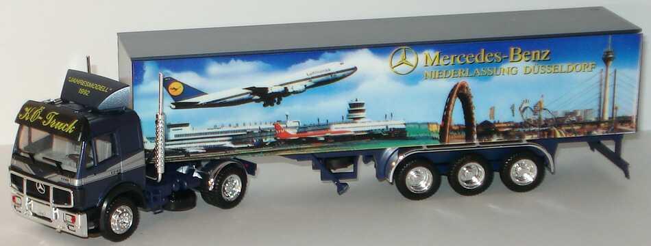Foto 1:87 Mercedes-Benz SK Koffersattelzug MB Ndl. Düsseldorf Jahresmodell 1992 Design Flughafen - herpa