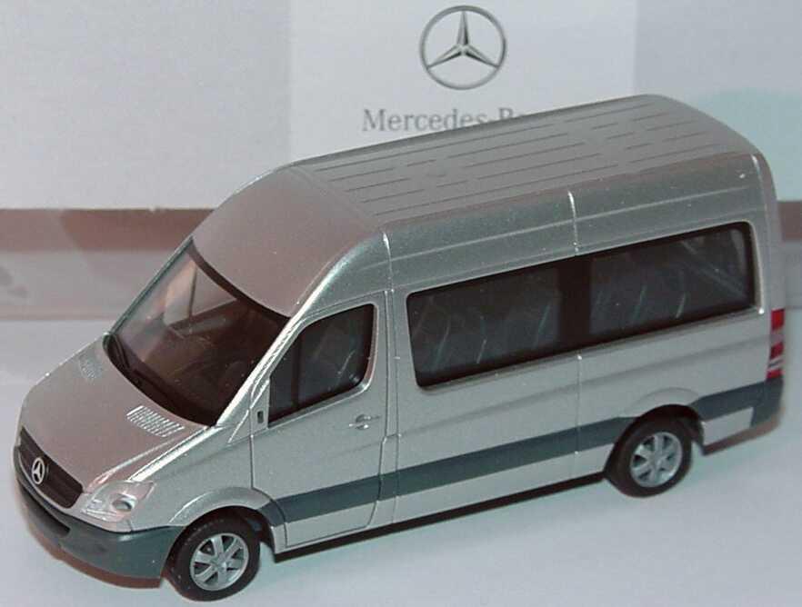 Foto 1:87 Mercedes-Benz Sprinter 2006 Bus Hochdach brillantsilber-met. Werbemodell herpa B66000750