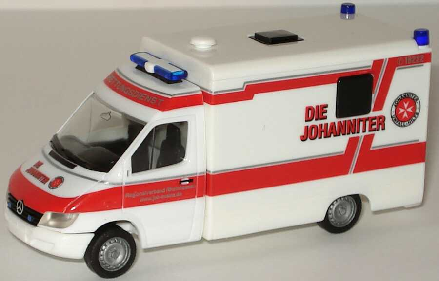 Foto 1:87 Mercedes-Benz Sprinter Facelift Strobel RTW Johanniter Unfallhilfe Mainz, Regianalverbund Rheinhessen herpa 045469