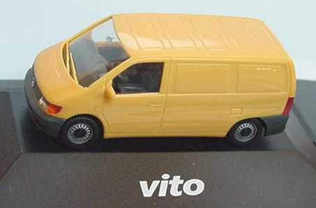 B 6 600 0102 //H7436 Herpa Mercedes Vito Kastenwagen gelb in PC-Vitrine Nr