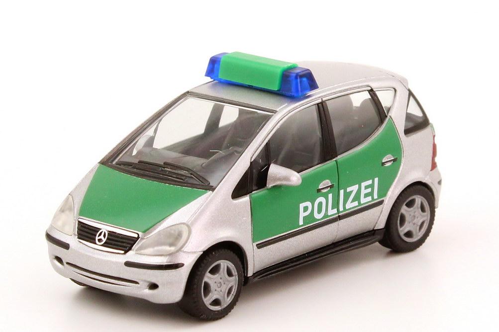Foto 1:87 Mercedes-Benz A-Klasse Facelift (W168 MOPF) Polizei silber-met./grün herpa 045384