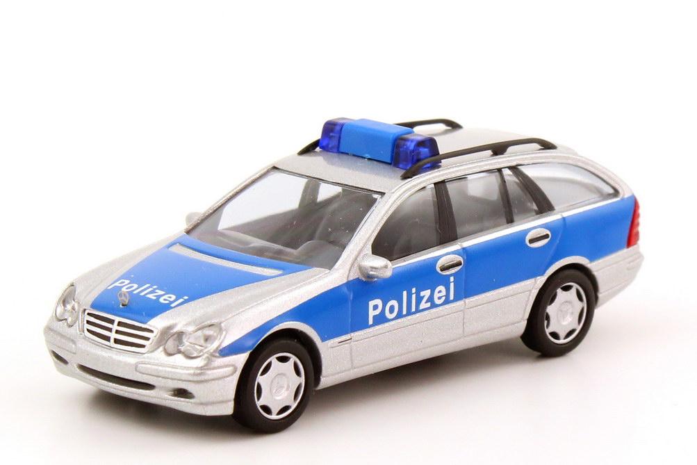 Foto 1:87 Mercedes-Benz C-Klasse T-Modell (S203) Autobahnpolizei silber-met./blau Busch 49156