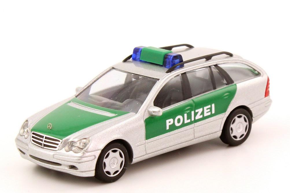 Foto 1:87 Mercedes-Benz C-Klasse T-Modell (S203) Polizei silber-met./grün Busch 49163