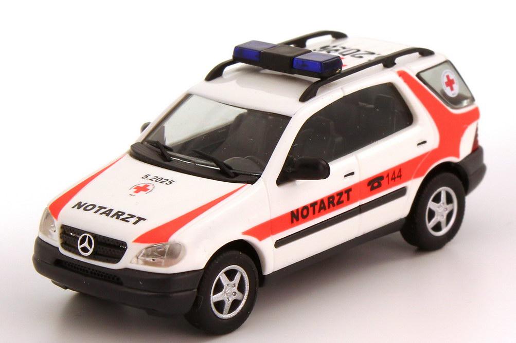 Foto 1:87 Mercedes-Benz M-Klasse ML 320 (W163) NEF Notarzt ÖRK 5.2025 Busch 48509