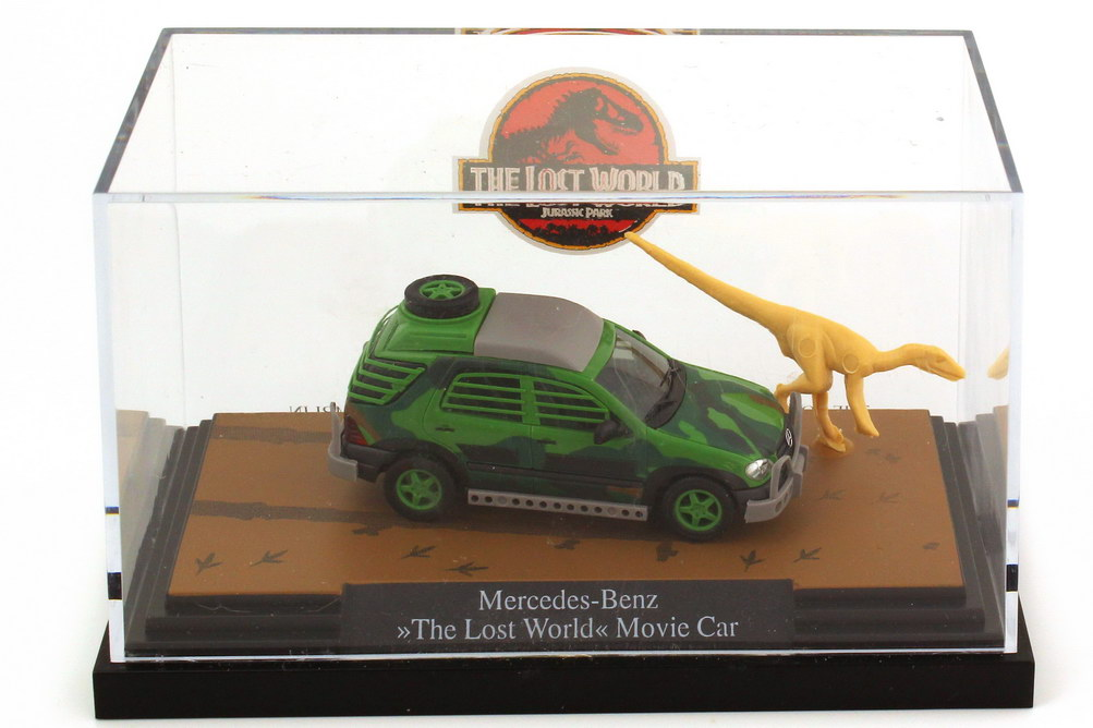 Foto 1:87 Mercedes-Benz M-Klasse (W163) - The Lost World Jurassic Park - Movie Car mit Saurier Busch B66006016/48504