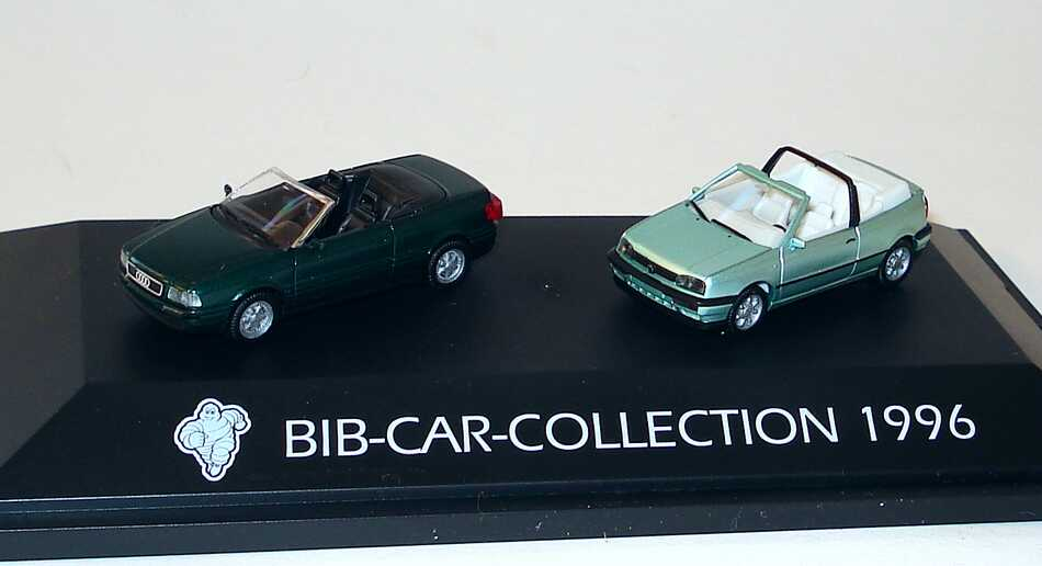 Foto 1:87 Michelin BIB-Car-Collection 1996 (Audi Cabrio dunkelgrün-met. + VW Golf III Cabrio mintgrünmet.) herpa