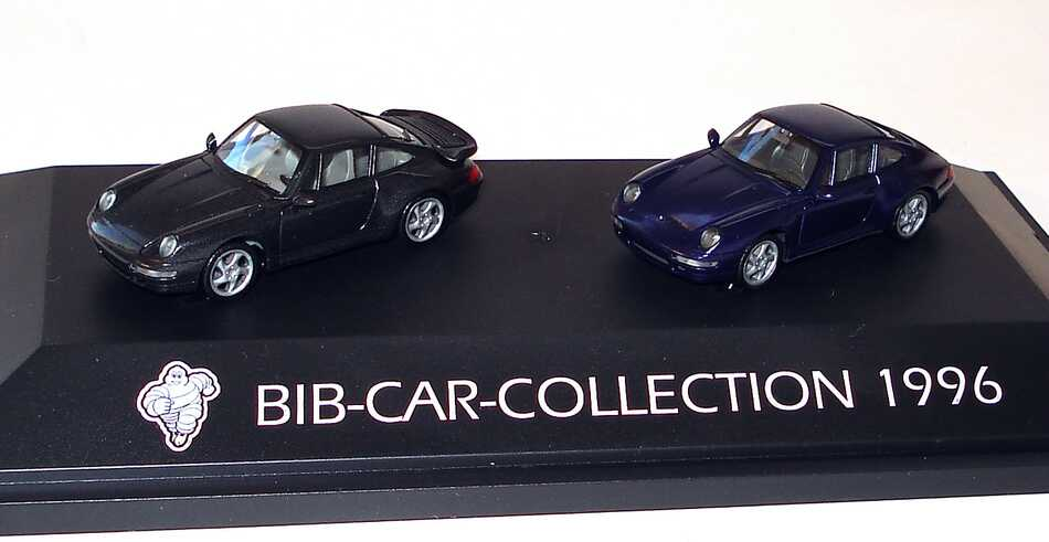 Foto 1:87 Michelin BIB-Car-Collection 1996 (Porsche 911 Turbo (993) schwarz-met. + Porsche 911 Carrera 4S (993) blaumet.) herpa
