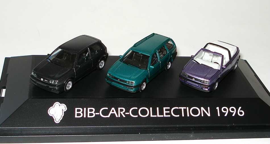 Foto 1:87 Michelin BIB-Car-Collection 1996 (VW Golf III VR6 schwarz-met. + VW Golf III Variant grün-met. + VW Golf III Cabrio lilamet.) herpa