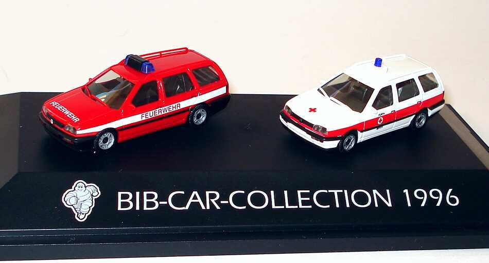 Foto 1:87 Michelin BIB-Car-Collection 1996 (VW Golf III Variant Feuerwehr + VW Golf III Variant DRK Fürth) herpa