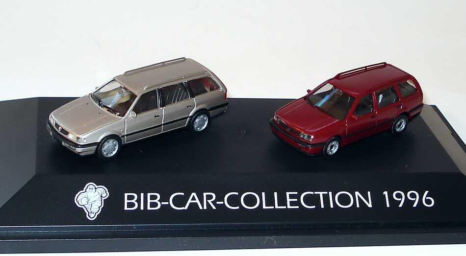 Foto 1:87 Michelin BIB-Car-Collection 1996 (VW Passat Variant ´94 rauchsilber-met. + VW Golf III Variant rotmet.) herpa