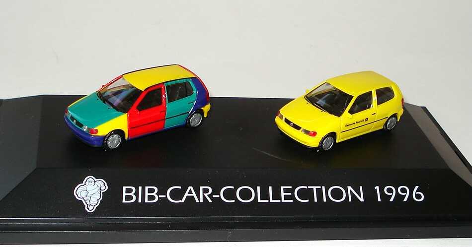 Foto 1:87 Michelin BIB-Car-Collection 1996 (VW Polo 5türig Harlekin + VW Polo 3türig Deutsche Post AG) herpa