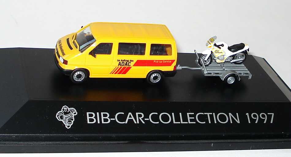 Foto 1:87 Michelin BIB-Car-Collection 1996 (VW T4 Bus ADAC Pick-up-Service mit Anhänger und BMW R 1100 RS ADAC Stauberater) herpa