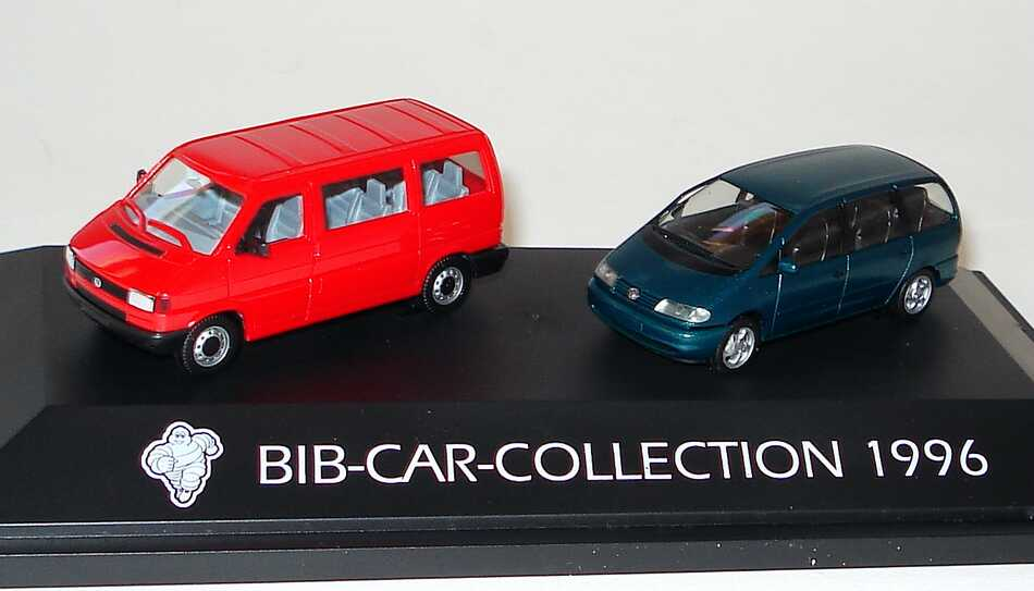 Foto 1:87 Michelin BIB-Car-Collection 1996 VW T4 Bus rot + VW Sharan grünmet. - herpa