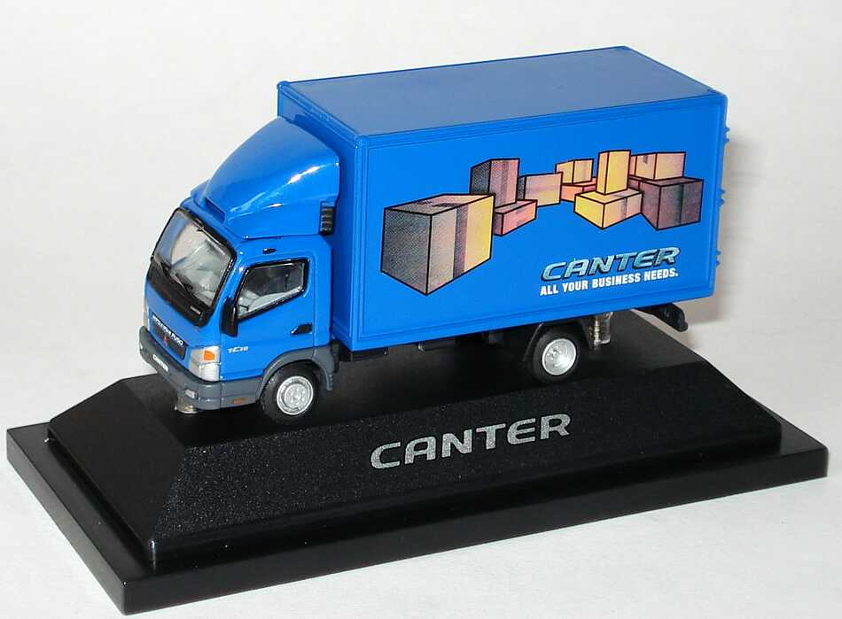 Foto 1:87 Mitsubishi Fuso Canter 2006 2a Koffer-LKW Canter - All your business needs. blau Werbemodell Mitsubishi