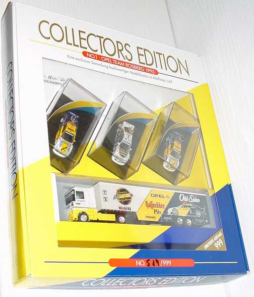 Foto 1:87 Opel Team Rosberg 1995 - Collectors Edition No.1 (3 Opel Calibra (Nr.1 + Nr.2 + Nr.2 Thank you Keke) + 1 Renault AE Renntransporter) Minichamps 870001000