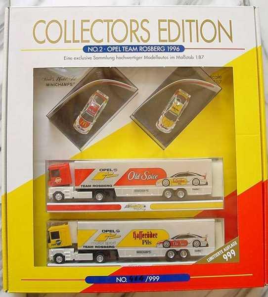 Foto 1:87 Opel Team Rosberg 1996 (2 Opel Calibra (Nr.43 + Nr.44) + 2 Renault AE Renntransporter) Minichamps 87002000