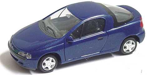 Foto 1:87 Opel Tigra dunkelblau-met. mit verchromten Felgen herpa