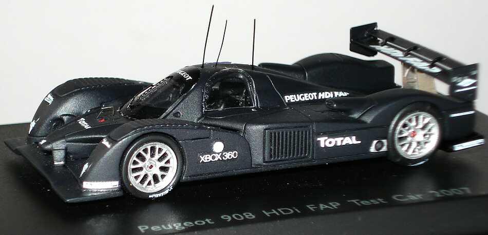 Spark 1:87 87S007 Peugeot 908 HDi FAP Test Car 2007 mattschwarz