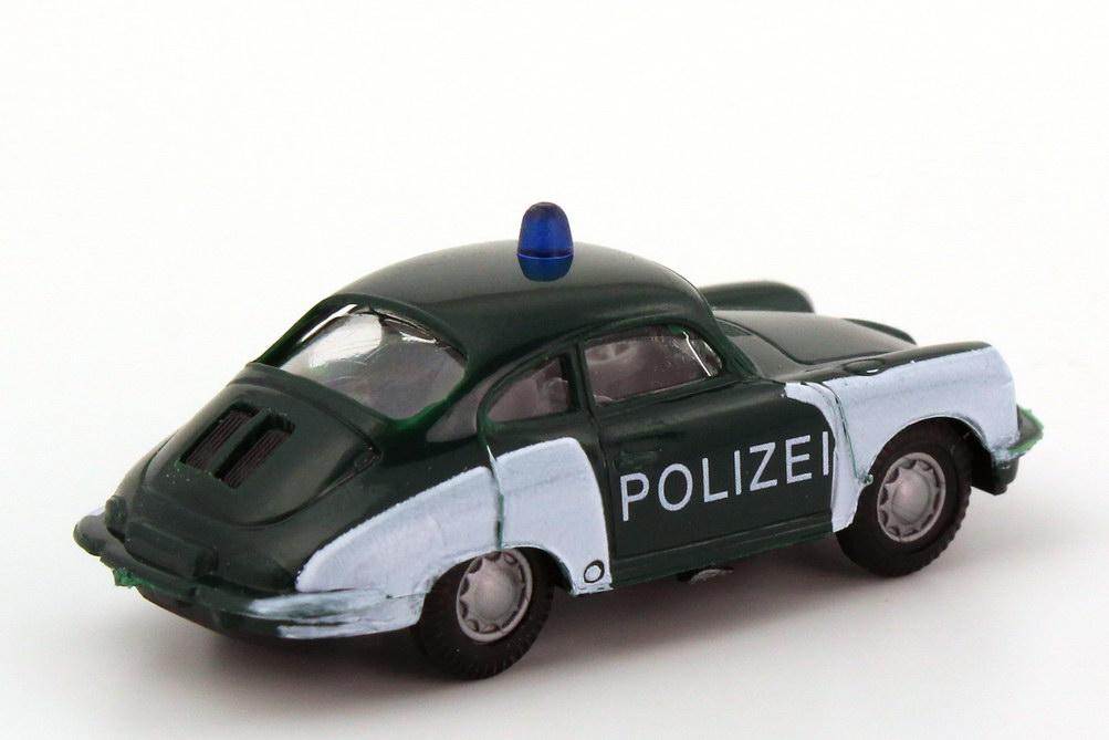Foto 1:87 Porsche 356 Polizei dunkelgrün/weiß Praliné