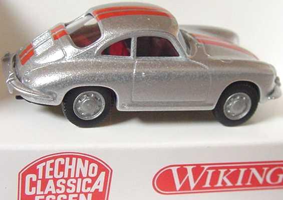Foto 1:87 Porsche 356 silber-met. mit roten Streifen (Techno Classica) Wiking 81403