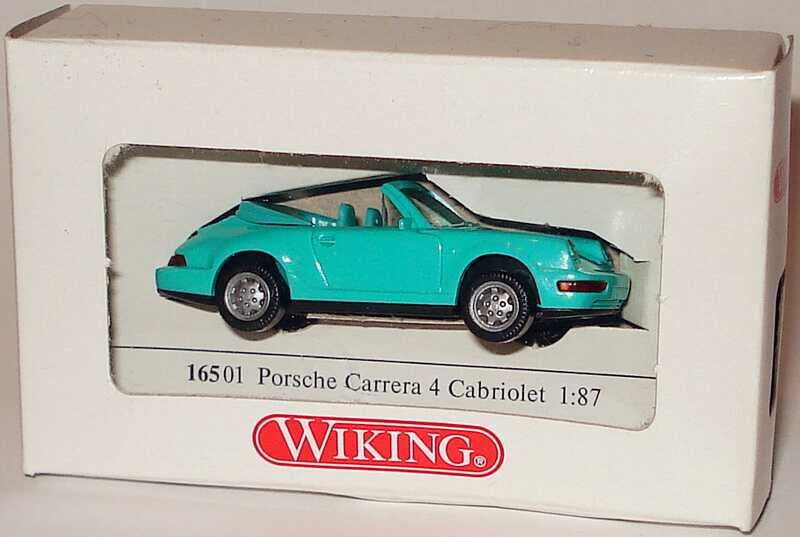 Foto 1:87 Porsche 911 Carrera 4 Cabrio mintgrün (Kartonverpackung) Wiking 16501