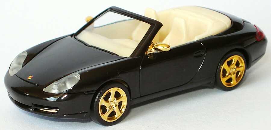 Foto 1:87 Porsche 911 Carrera (996) Cabrio schwarz, goldene Felgen und Spiegel herpa
