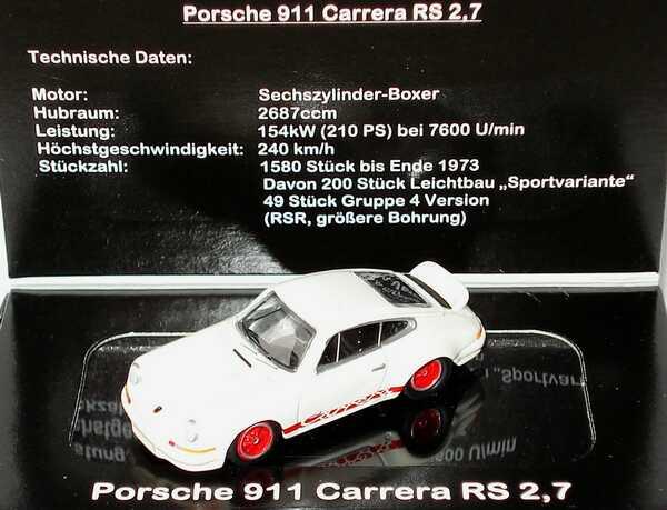 Foto 1:87 Porsche 911 Carrera RS 2,7 weiß/rot BUB 08600