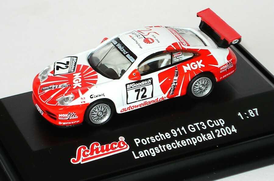 Foto 1:87 Porsche 911 GT3 Cup (996) Langstreckenpokal 2004 NGK, Weiland Nr.72, Weiland/Bugs Bunny (Yerna) Schuco 25012