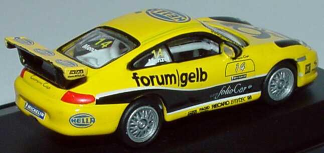 Foto 1:87 Porsche 911 GT3 Cup (996) PCC 2003 Tolimit, Hella, Post forum gelb Nr.14, Christian Menzel Schuco 21832