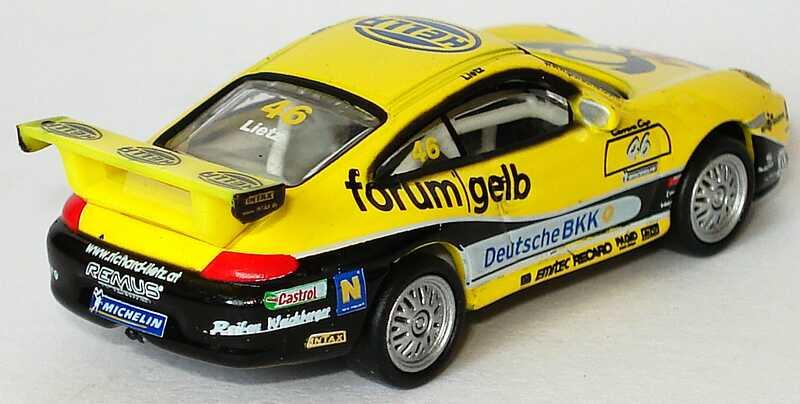 Foto 1:87 Porsche 911 GT3 Cup (996) PCC 2004 Tolimit, Hella, Post forum gelb, Deutsche BKK Nr.46, Lietz Schuco 21944