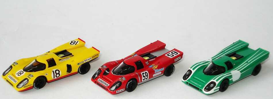 Foto 1:87 Porsche 917 K Set-Packung David Piper und seine Porsche 917 K (3x 917 K, grün + rot Nr.59 + gelb Nr.18) Brekina 16099